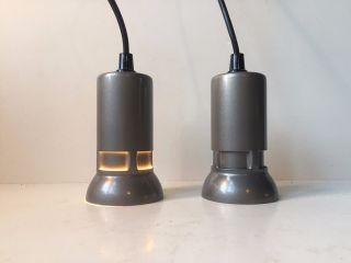 Danish Modern 70s Minimalist Pair Lyfa Pendant Lamps Louis Poulsen Panton Ph Era photo
