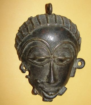 African Baule Necklace Jewelry Amulet Passport Mask Dogon Bronze Pendant Masque photo