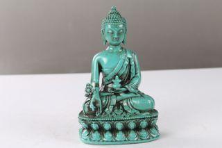 Chinese Tibet Turquoise Hand - Carved Buddha Statue Ls48 photo