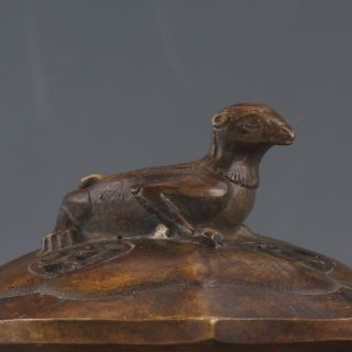 Chinese Copper Hand Carved Incense Burner & Mole Lid W Qianlong Mark Pc0383 photo