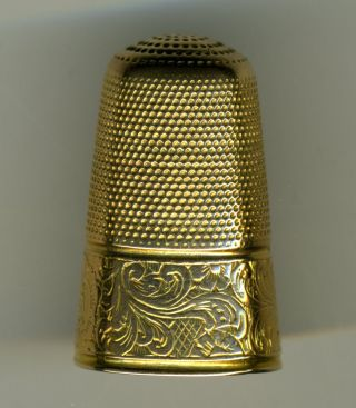 Two Antique Gold Thimbles,  Tall,  Unmarked photo