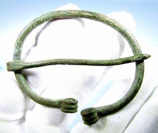 Viking Era Bronze Omega Brooch / Fibula - Rare Ancient Fantastic Artifact - C69 photo