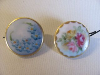 Two Antique Initialed Porcelain Handpainted Buttons photo