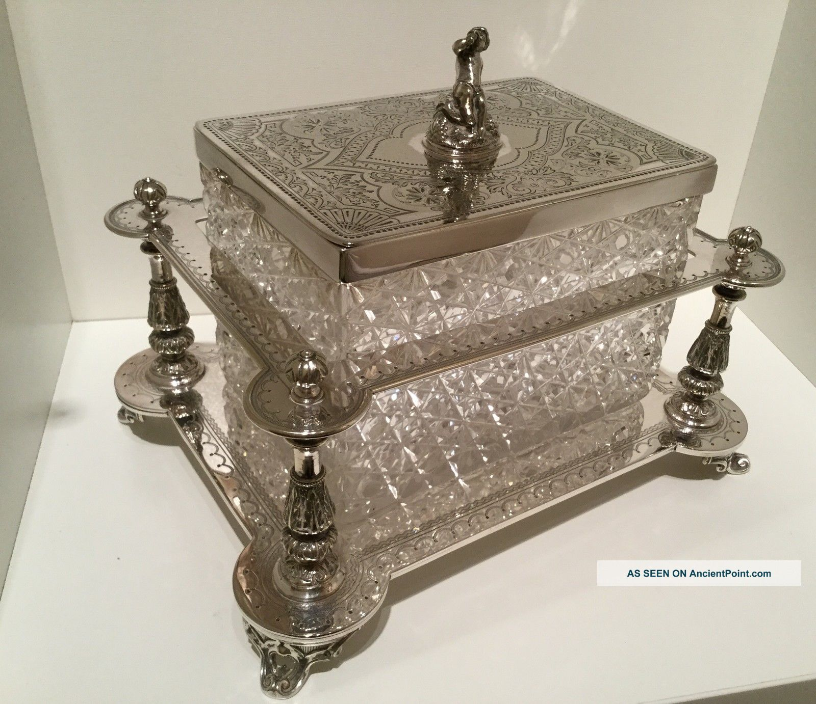 Exquisite Victorian Silver Plate Hand Cut Crystal Biscuit Box By Henry Atkins Boxes photo