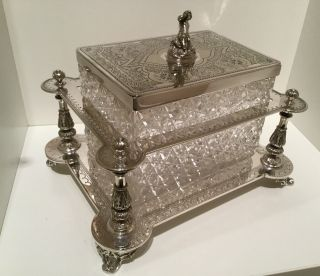 Exquisite Victorian Silver Plate Hand Cut Crystal Biscuit Box By Henry Atkins photo