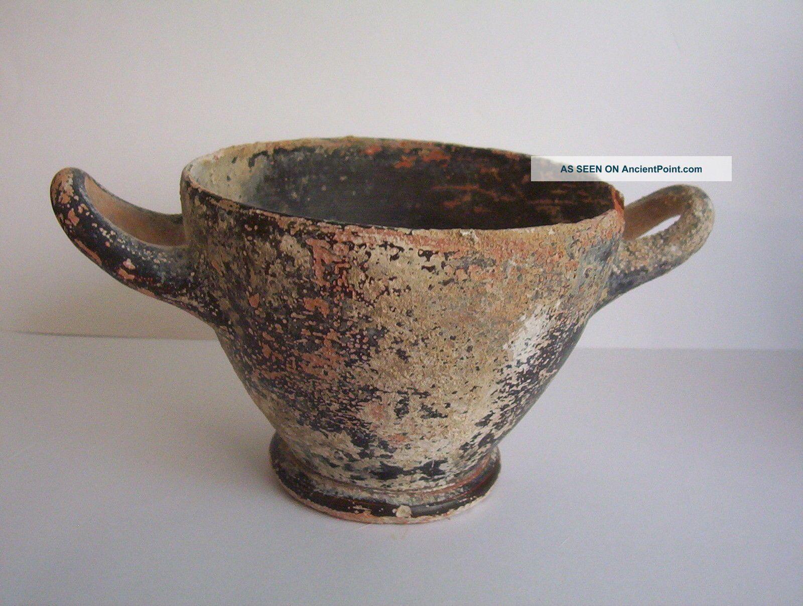 Large Ancient Greek Hellenistic Pottery Skyphos 4th Century B.  C. Greek photo