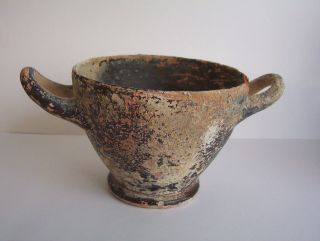 Large Ancient Greek Hellenistic Pottery Skyphos 4th Century B.  C. photo