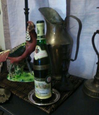 Vtg Anttique Sterling Silver Cut Crystal Glass Wine Bottle Coaster photo