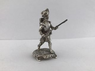 Solid Silver Model Of Scottish Soldier With Rifle 1989 London photo