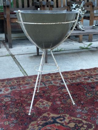 Vintage Mid Century Modern Bullet Planter Kimball Fiberglass Metal Plant Stand photo