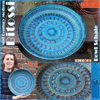 Huge Blue Aldo Londi Bitossi Mid Century Modern Ceramic Bowl Schale 60s Italy photo