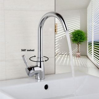 Eub Bathroom Swivel Water Faucet Deck Mounted Single Handle Basin Sink Mixer Tap photo