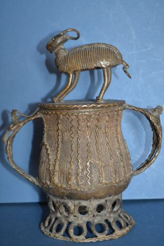 Mid 20th Century African Ashanti Bronze Tribal Gold Pot,  Antelope Finial,  C 1950 photo