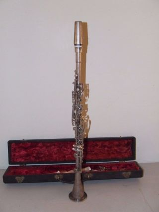 Antique 1920 ' S Cavalier Metal Clarinet With Case - Cavalier Elkhart Ind.  Usa photo