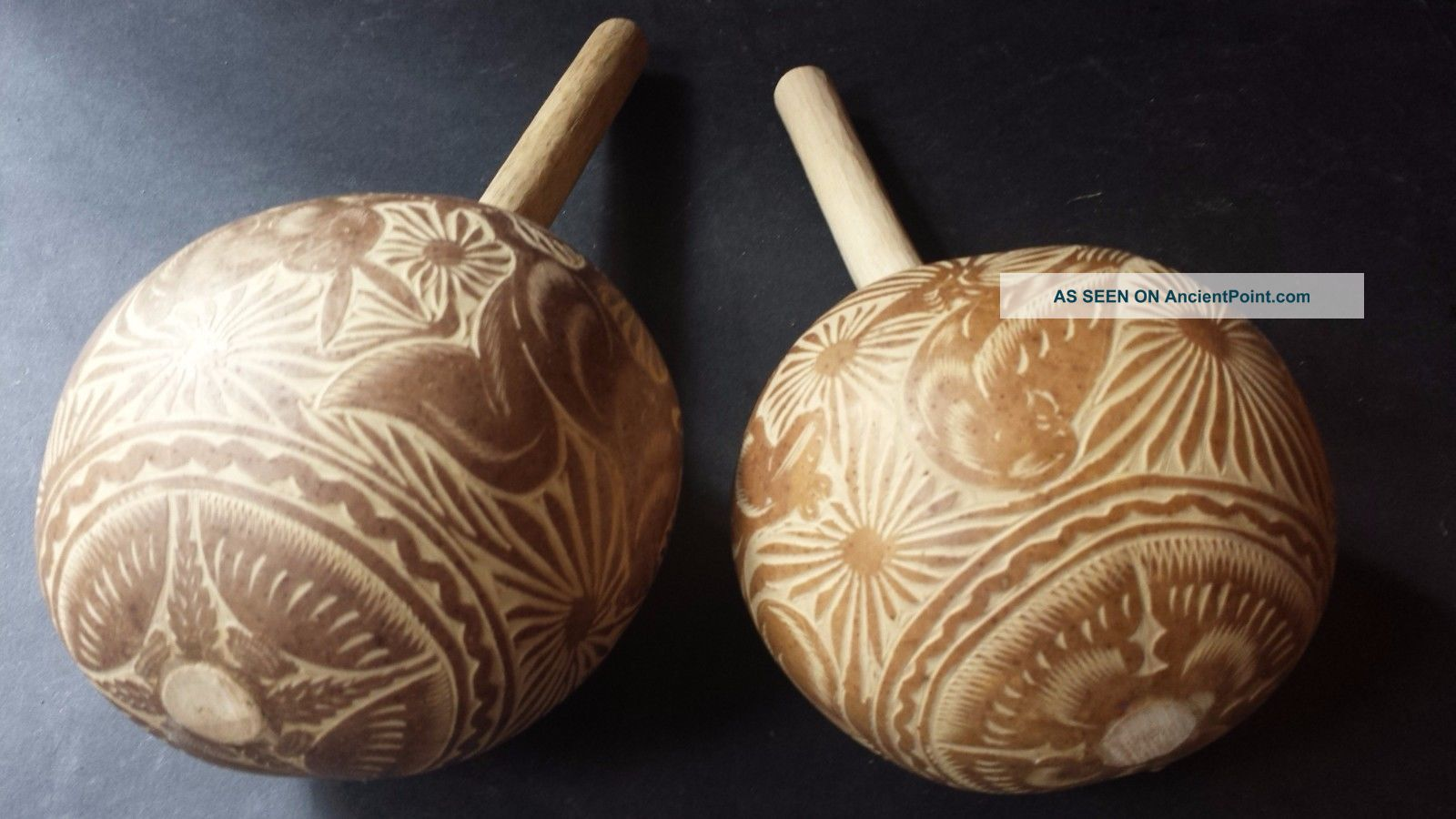 Mexican Shamanic Maracas Shakers Native Ethnic Musical Percussion Art Instrument Percussion photo