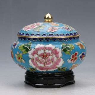 Chinese Collectable Copper Cloisonne Handwork Poeny Pattern Pots G022 photo