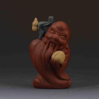 Chinese Yixing Zisha Hand - Carved Longevity God Statue G432 photo