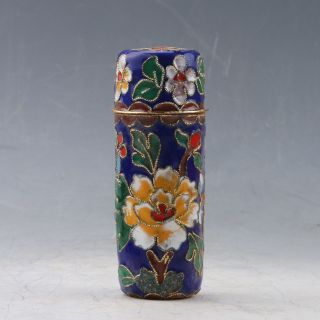 Chinese Cloisonne Handwork Flower Toothpick Box Pc0400 photo