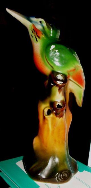C.  1930 Art Deco German Figural Kingfisher On Tree Stump Figural Flower Frog 6