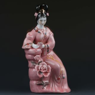 Chinese Famille Rose Porcelain Hand Painted Gril Statue G406 photo
