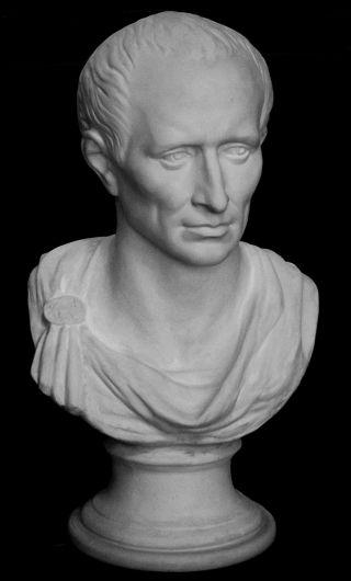 Italian Greek Style Sculpture Statue Bust Of Julius Caesar 62x34x28 Cm White. photo