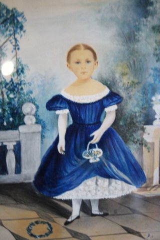 Antique Painting Young Girl Flower Basket Blue Eyes 19th C Portrait photo