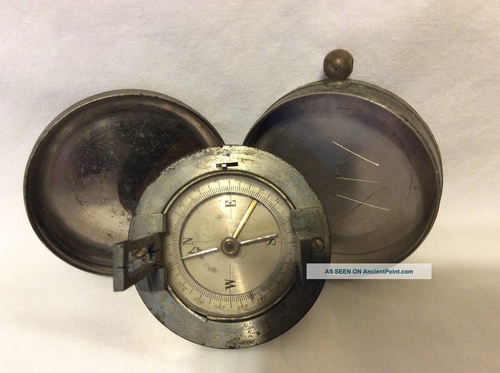 Vintage Pocket Compass With Integral Sight & Case - France Compasses photo