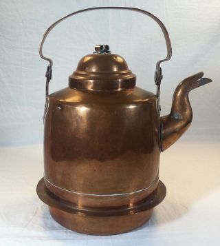 Early Antique Swedish Dovetailed Hand Wrought Copper Gooseneck Tea Kettle Pot photo