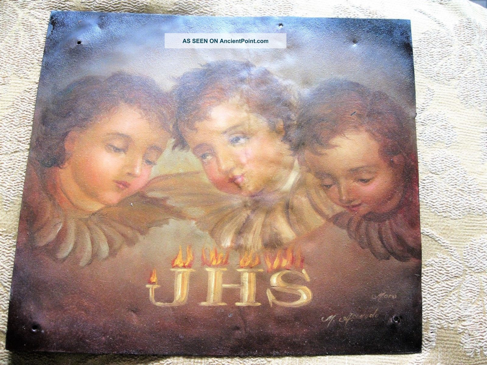 Vintage Retablo On Tin With Three Angel Faces With Wings Latin American photo