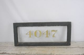 Antique Wood Transom Window With Number Address Architectural Salvage Window 2 photo