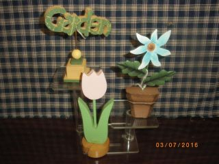 Mini 3 Spring Time Wood Shelf Sitter Garden On Pedertal,  Pink Tupil,  Blue Daisy photo