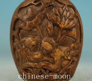 Lucky Chinese Old Alabaster Handmade Carved Married Snuff Bottle Statue photo