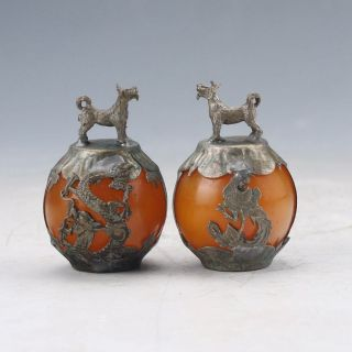 A Pair Collectable Beeswax Armor Tibetan Silver Hand - Carve Zodiac Statue - - Dog photo