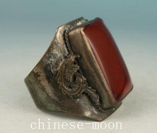 Chinese Old Jade Armored Copper Dragon Phoenix Statue Ring Ornament photo
