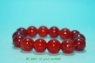 Chinese Old Jade100 Natural Red Agate Hand - Carved Stretch Bracelet photo