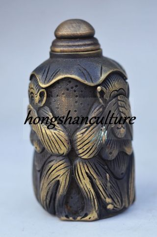 Exquisite Chinese Copper Handwork Carving Monkey Snuff Bottles photo