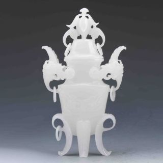 Chinese Antique White Jade Hand Carved Incense Burner&lid Z989 photo