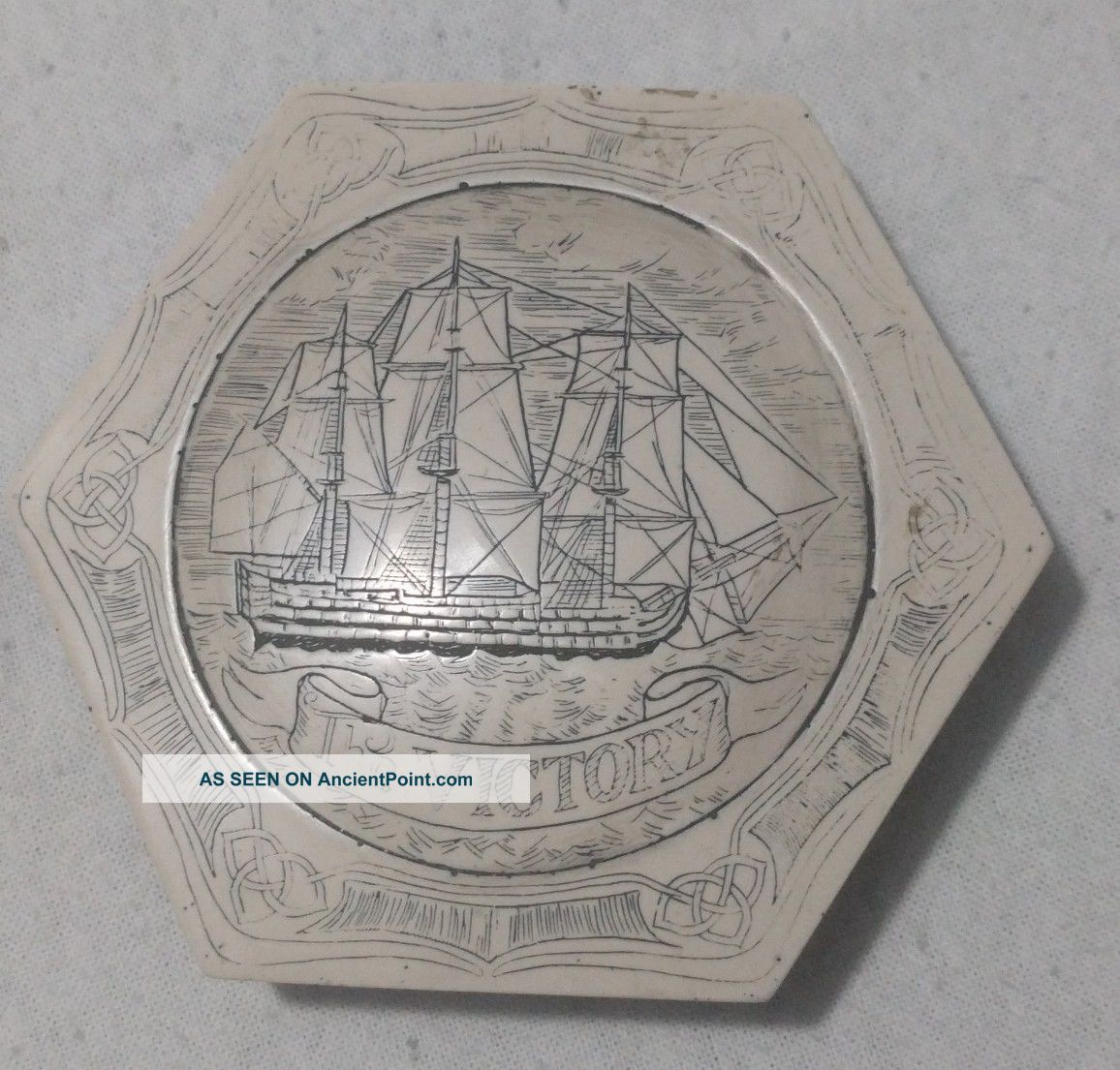 Vintage Hand Carved Ship Map Weight Other Maritime Antiques photo