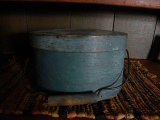 Robin Egg Blue Bale Handle Primitive Pantry Box Nr,  Bottom Missing photo