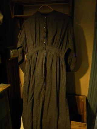 Prairie Dress,  Black With Tiny White Specks,  Age Unknown,  Amish? photo
