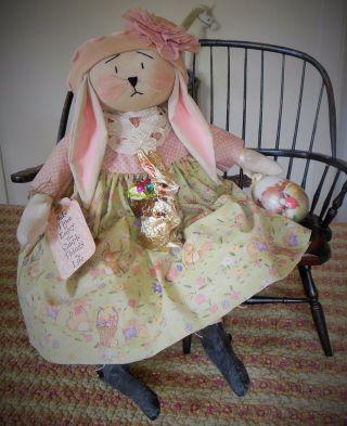 Primitive Folk Art Bunny Easter Doll Vintage Crinoline Buttons Easter Egg Candy photo