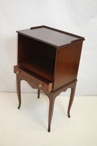 English Bed Side Night End Table,  With Gallery Top Shelf & Drawer,  C.  1920 ' S photo