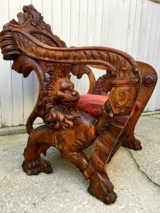 Impressive Figural Griffin & Lion Italian Fantasy Carved Walnut Armchair photo