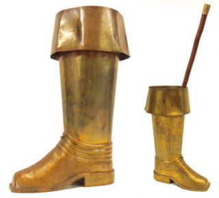 Vintage Spanish Revival Hammered Brass Riding Boot Umbrella Cane Holder Stand photo