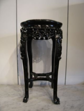 Antique Chinese Rosewood Plant Stand W/ Marble Top Floral & Fu Dog Carving photo