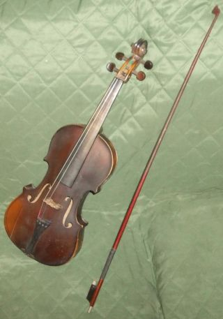 Vintage Old Antique Estate National Institute First Violin Needs Some Tlc And. photo
