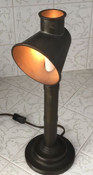 Mid Century Mod Arts & Crafts Pipe Lamp Brass Two Direction Illumination 12.  5