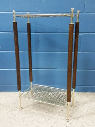 Mid Century Modern Gold Telephone Stand Wire Mesh Accent Table Wood photo