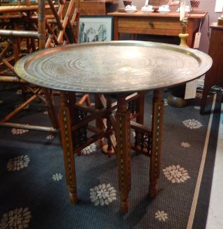 Vintage Moroccan Arabesque Indian Etched Brass Tray Table Intricate Inlaid Base photo