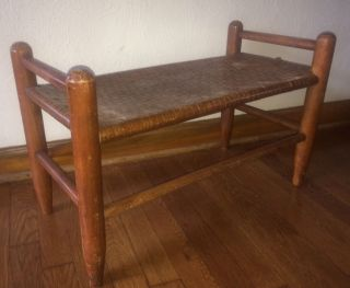 Vintage Antique Woven Rush Caned Seat Bench Stool photo
